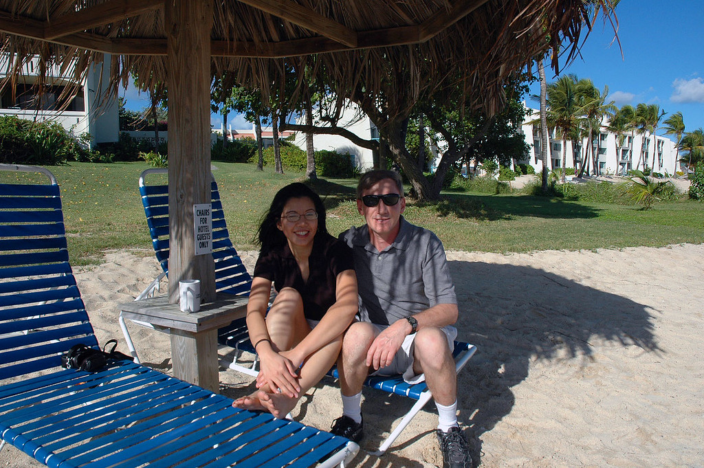 Thao and I, Joe on the beach a short time after arriving.