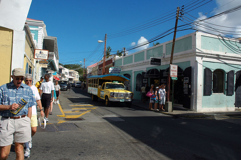 This is in the older section of Charlotte Amalie, lots of shops here.