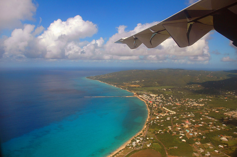 Over the island of St Croix, our home for the next six days.
