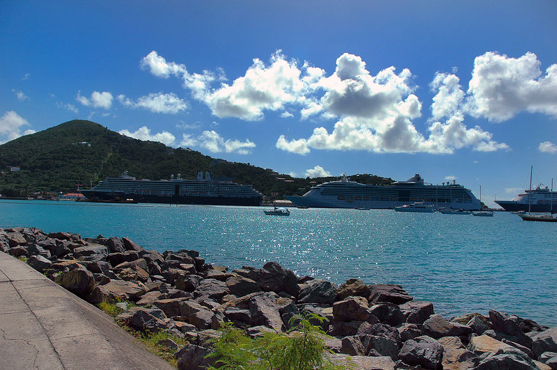 We took the mile or so walk along the shore to where the cruise ships were docked.