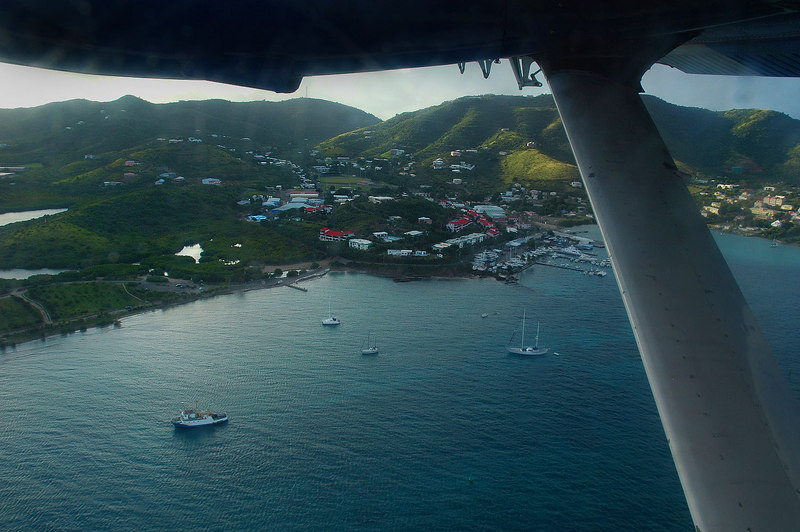 In the air looking back at Gallows Bay as we leave St Croix.