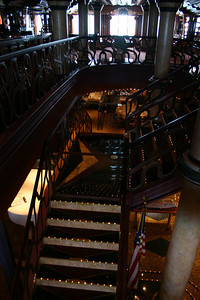 Carnival Elation - Indoor Stairs These stairs lead down to the Inspiration dining room from Gatsby\'s, directly in front of the Cole Porter Lounge.