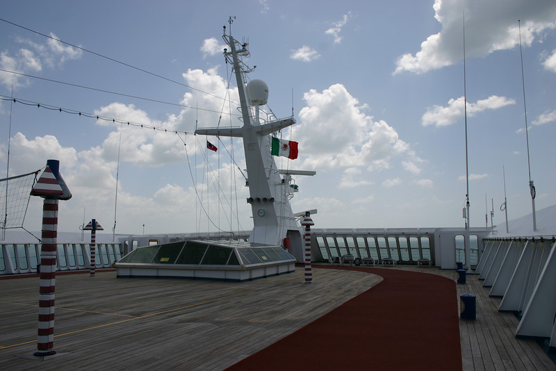 Jogging Deck While in Mexican ports, the ship flew the Mexican flag, visible here from the jogging deck on the top of the ship