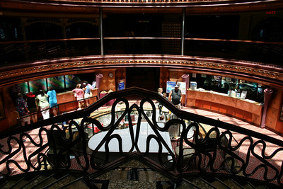 Carnival Elation - Grand Atrium View The view from deck 8, at the top of a winding staircase down into deck 7.