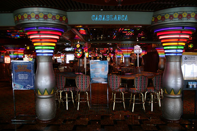 Carnival Elation - Casablanca Casino This view captures the Blackjack tables, mostly, with craps and roulette and slots around the corner. Deck 9, IIRC.
