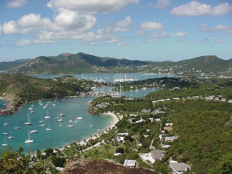 View of English Harbor and Nelson's Dockyard in Antigua,