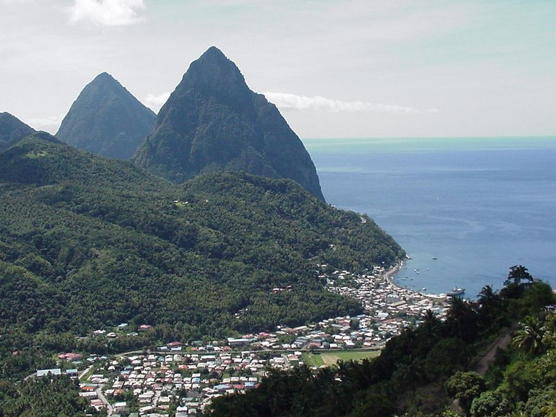"The scenic ""twin peaks"" of St. Lucia. The mountains are 'volcanic plugs' that were pushed upwards millions of years ago."