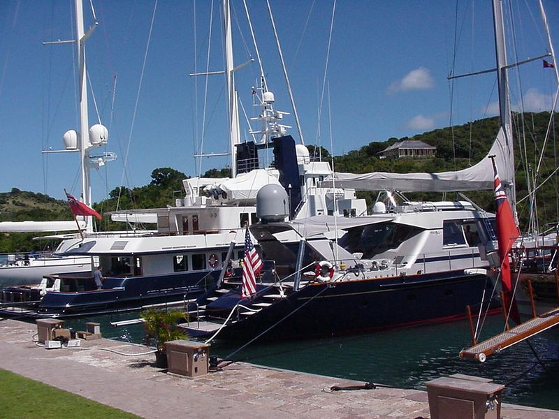 """Some of the """"fleet"""" in Nelson's Dockyard. There were some really nice yachts at the pier here!!"""