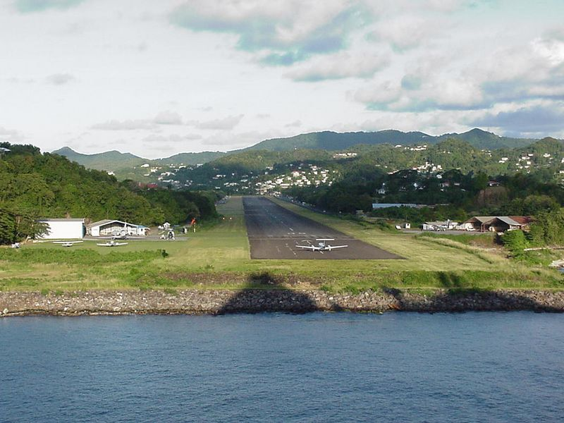 Airport at the harbor entrance to St. Lucia. That's the shadow of our ship on the bank.