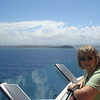 Approaching San Juan harbor (Raye's just a little wind blown).