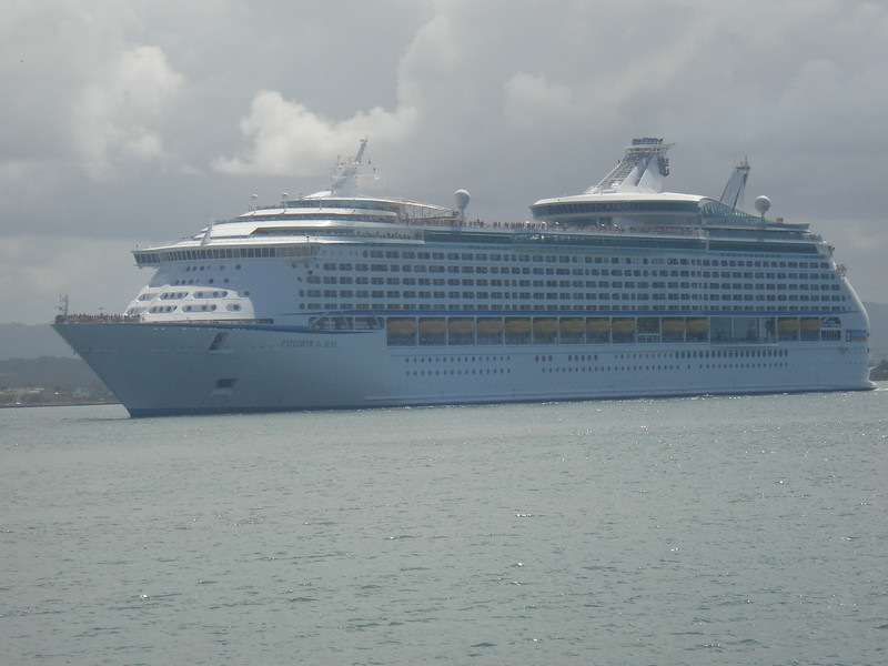 Explorer of the Seas arrives in San Juan Harbor (having survived 30 foot seas on the way south from New York)!