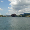 Approaching the Culebra Cut, narrowest portion of Panama Canal.