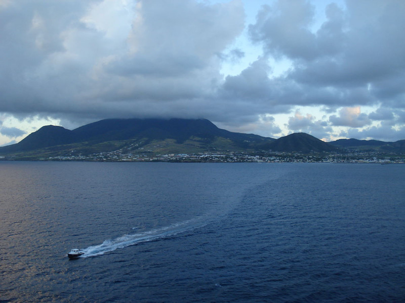 Meeting the pilot boat as we approach Basseterre, St. Kitts.