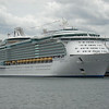 Royal Caribbean's Liberty of the Seas was only cruise ship in port.