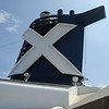 X marks the spot. Signature trademark for Celebrity Cruise Line.