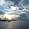 Sunrise over the Virgin Islands. We are approaching Charlotte Amalie, St. Thomas, U. S. Virgin Islands.