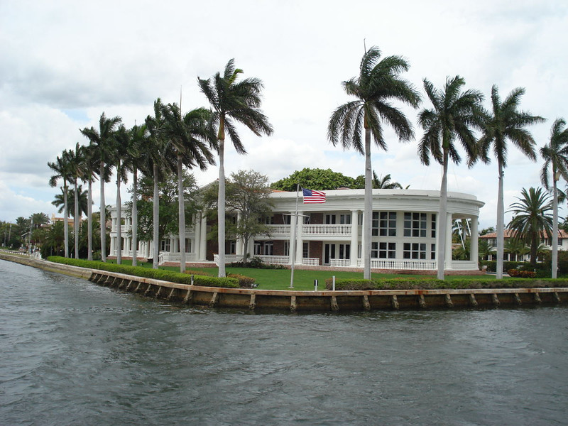 """""""The White House"""" - Current value $28 million. Owner is Jack Hutchins. He invented the electro magnet clutch & worked for General Motors. They refused to buy it from him. Big mistake. He patented it and sued GM. Won his case and built this little beach house with some of his settlement money."""