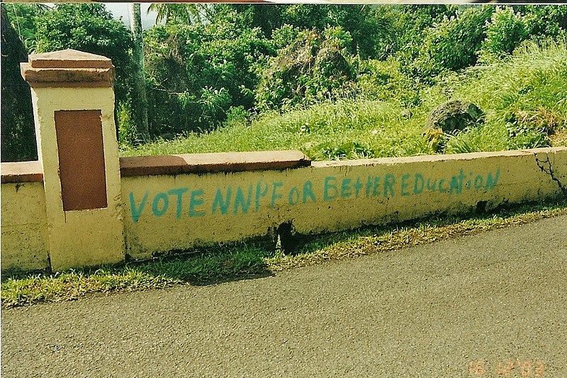 Grenada political signs are very Caribbean. they just paint them on whatever they can find.