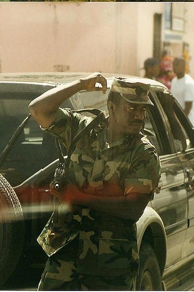 Grenadian soldier; note submachine gun (under right arm).