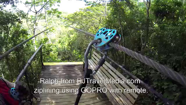 Ralph ziplining using GOPRO with remote footage