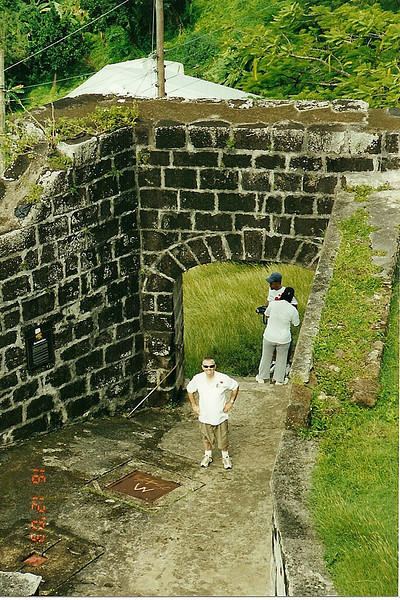Dad in the entrance of Ft George, St. George's, Grenada.