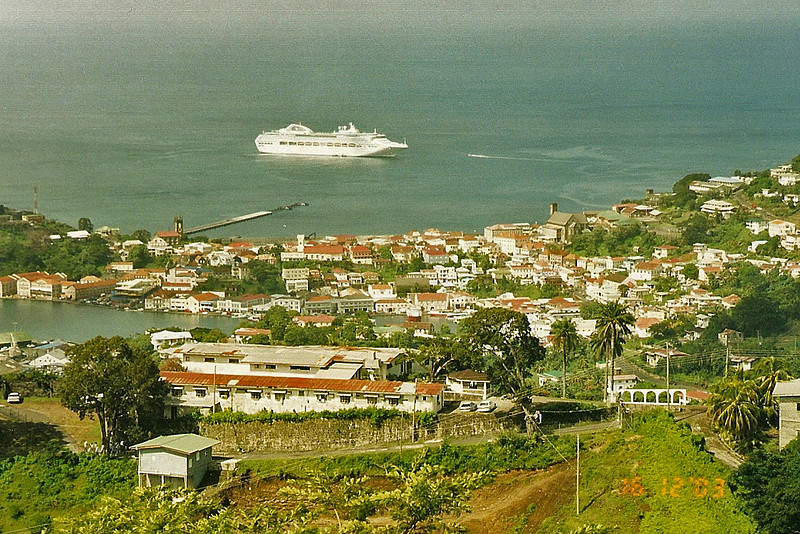 Our ship from the top of Ft George, St George's Grenada.