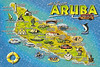 Aruba postcard showing the location of significant island sites.  Our land tour started in Ornjestad, went up to Palm Beach and the California Lighthouse, down to the Natural bridge area across to Casibari Rock & back.