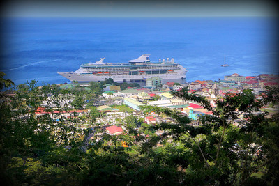 Legend of the Seas at anchor in Roseau, the capital of Dominica