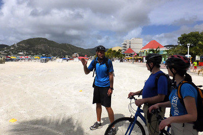 Stopping on the beach for a bit of history about St. Martin