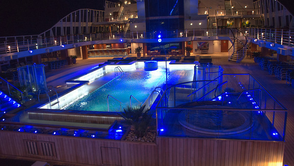 Miami - Port - Leaving for the Caribbean Pool area and deck at night.