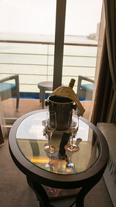 Miami - Port - Leaving for the Caribbean Complimentary Champaign - Nice touch, but neither of us drinks Champagne.
