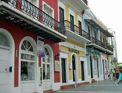 Many of the old facades have been converted into businesses along the streets of Old San Juan - Puerto Rico