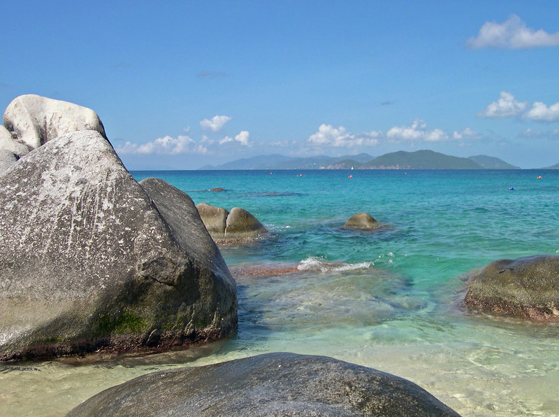 Clear, blue carribbean waters over the rocks and the famous boulders of the Baths, -Virgin Gorda - British Virgin Islands