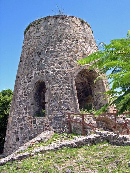 An old Sugar mill stands on a hill - St. John - U.S. Virgin Islands
