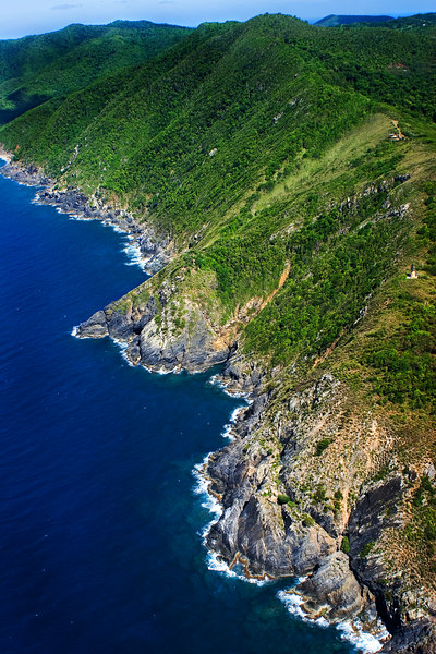 """Wild Maroon Ridge""<br /> Aerial of Hams Bluff, Maroon Ridge, Maroon Hole, and Annaly Bay <br /> St. Croix, U.S. Virgin Islands"