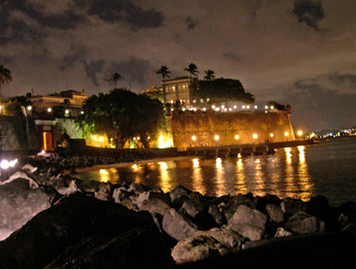 The governors house sits above the old city walls - Old San Juan - Puerto Rico