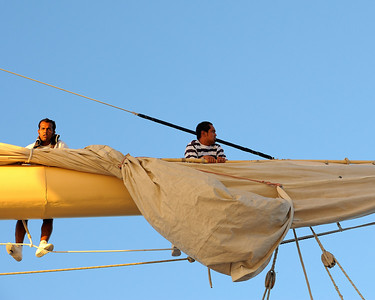 Royal Clipper has hydralic operated sail furling; this one had a problem so up went the deck crew.