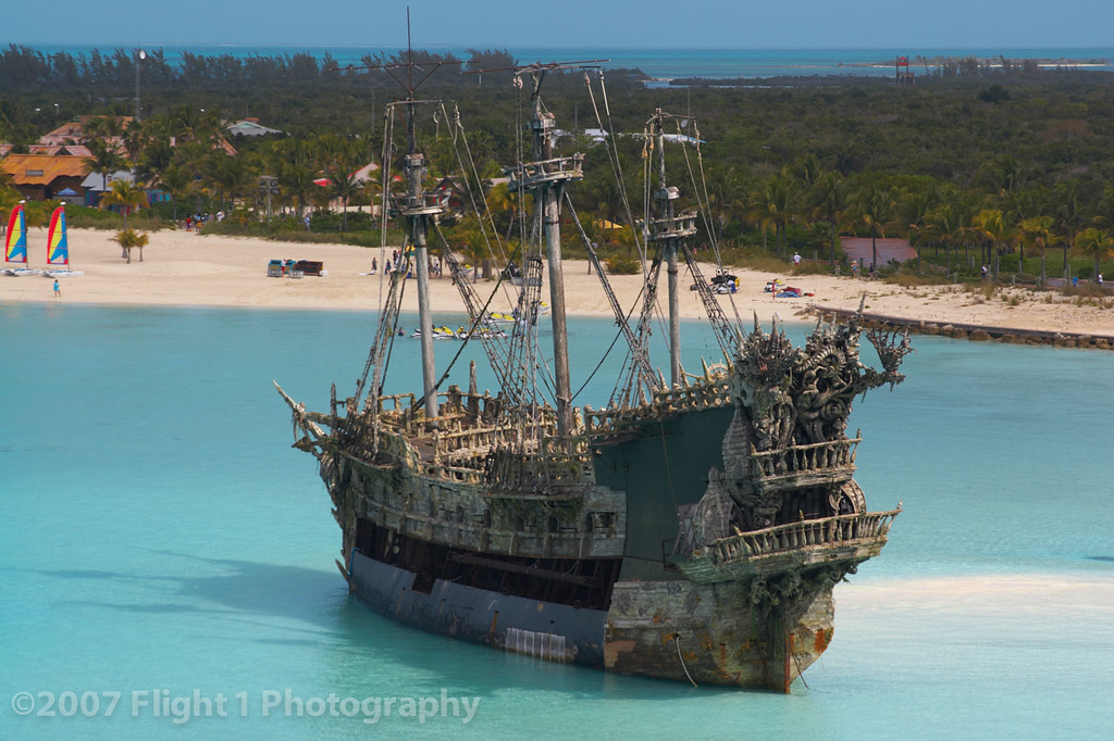The ghost pirate ship at Castawy Cay was used for The Pirates of the Caribbean movie.