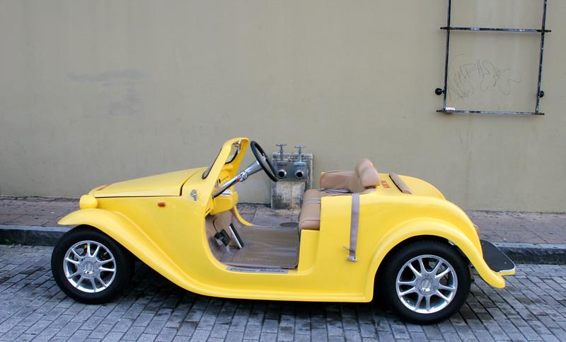 A cool little car in San Juan, Puerto Rico.