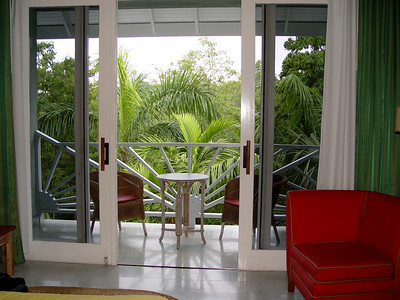 View of the balcony and outside garden