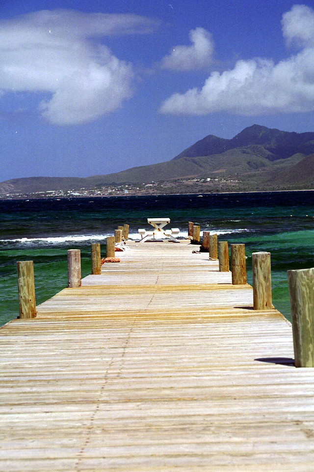 St. Kitts turtle Beach pier looking Nevis - replaced by Kaiwah development
