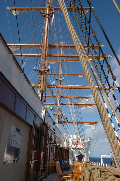 The Lido deck. The sails are beginning to be unfurled.