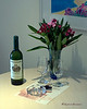 Wine & Flowers in the Room