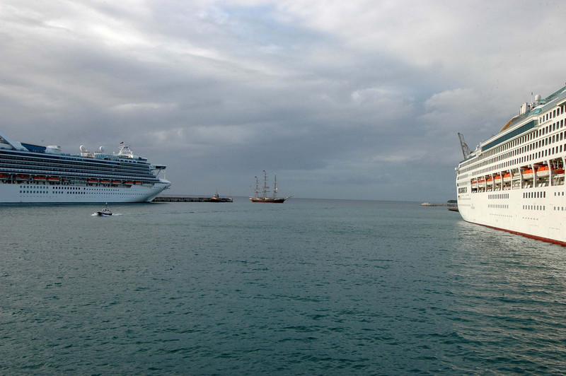 Dutch training ship sails into Barbados harbor. Our little sister!