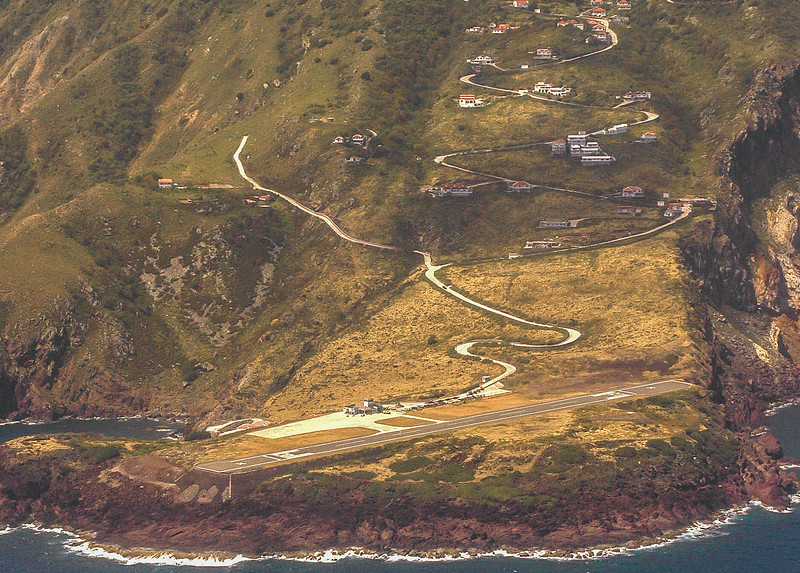 """The airport, named after the Aruban Minister Juancho Irausquin, has the shortest commercial runway in the world, only 396 meters (1,299 ft) long, flanked on one side by high hills, with cliffs that drop into the sea at both ends"". Wikipedia"
