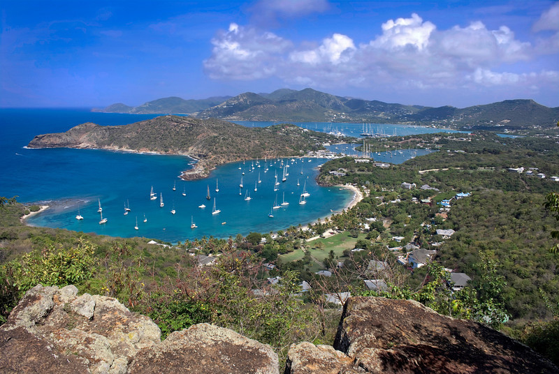 Nelson's Dockyard (English Harbor) and Falmouth Bay, Antigua, taken from Shirley Heights. Photo by Christian Wilkinson.