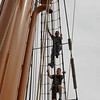 It took 1-2 crew members per sail to climb aloft and release the sails.