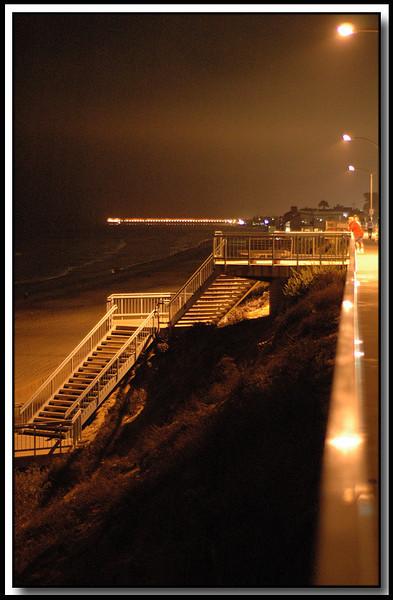 Stairs leading down to the beach walk, seawall, Carlsbad, Ca.