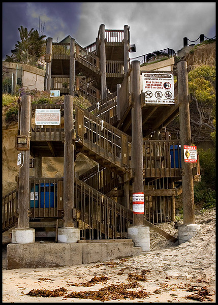 Staircase on the Encinitas Beach, it is no longer in use.
