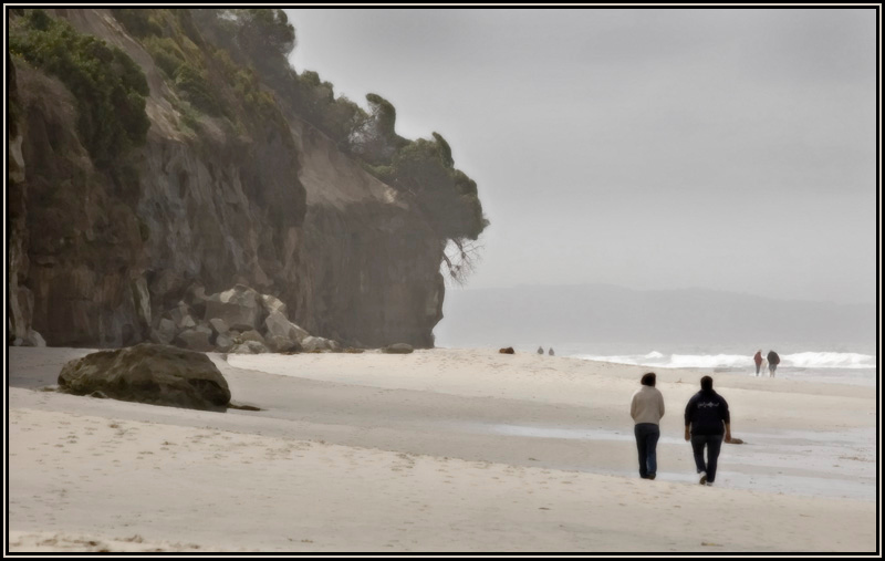 A early foggy morning walk on the beach in Encinitas.